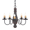 Bed and Breakfast Wooden Chandelier in Hartford Black with Red Stripe