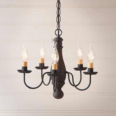 Bed and Breakfast Wooden Chandelier in Hartford Black over Red