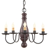 Bed and Breakfast Wooden Chandelier in Hartford Red over Black