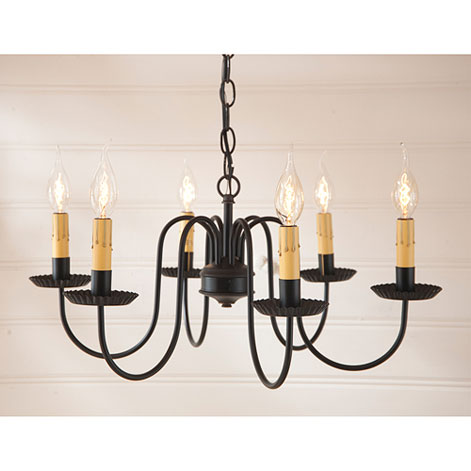 Sheraton Six Arm Wrought Iron Chandelier