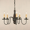 Lynchburg Wooden Chandelier in Sturbridge Black with Red Stripe