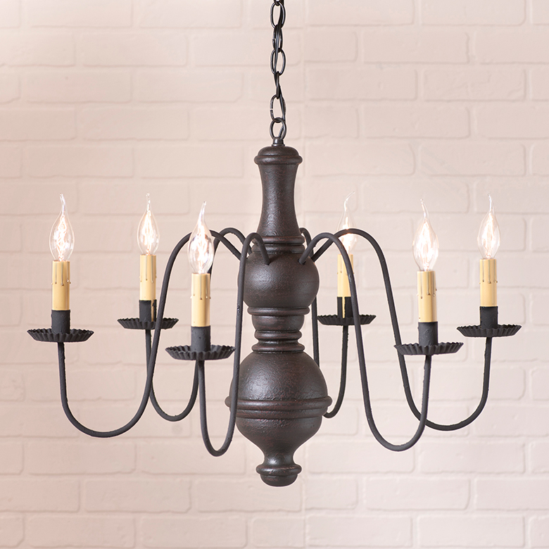 Large Chesterfield Wooden Chandelier in Americana Black