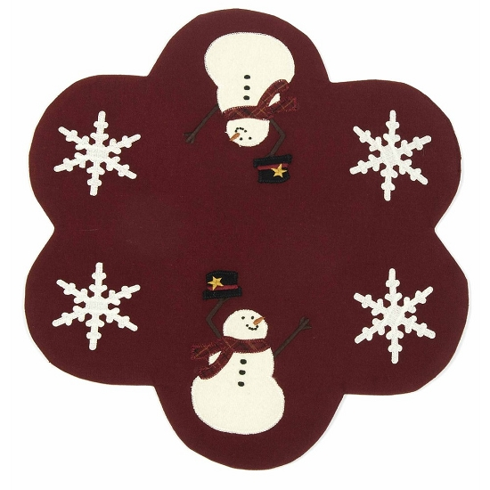 Happy Winter Days Barn Red Candle Mat