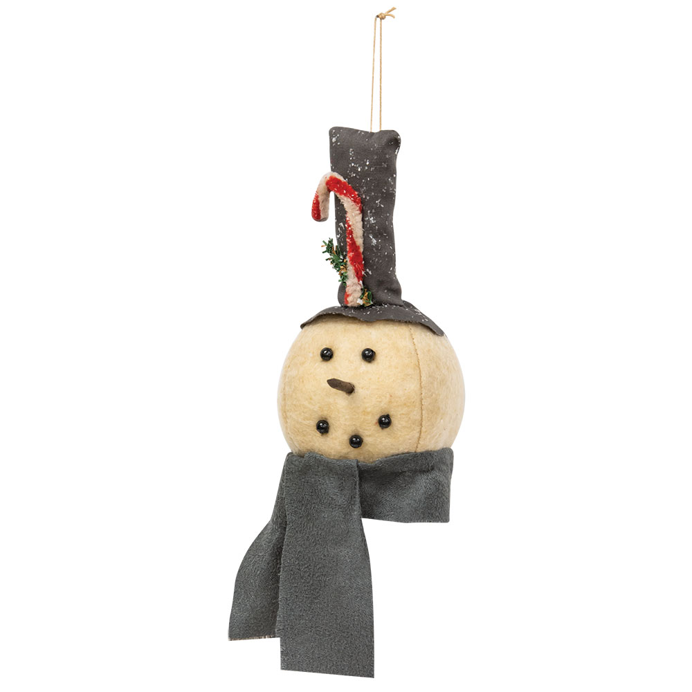 Grey Scarf Snowman Ornament
