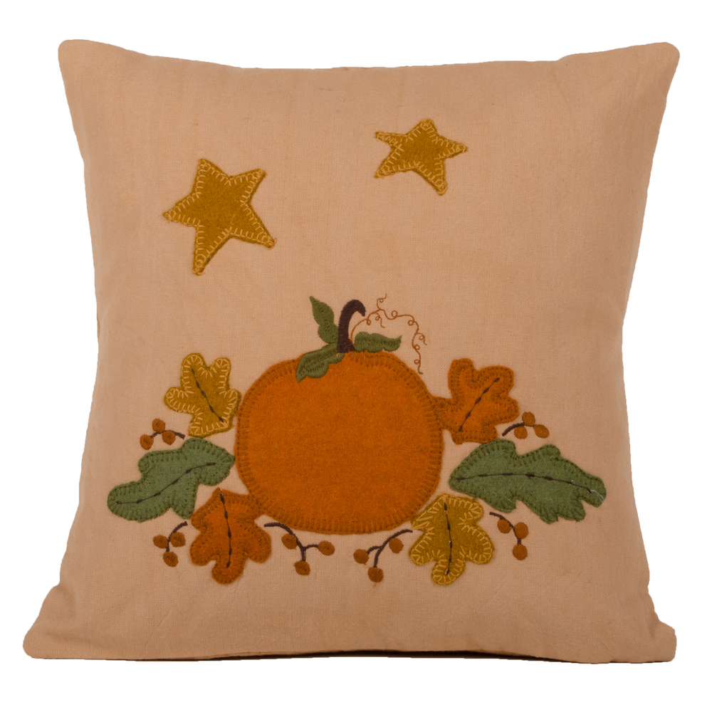 Harvest Pumpkin & Leaves Pillow Tea Dyed