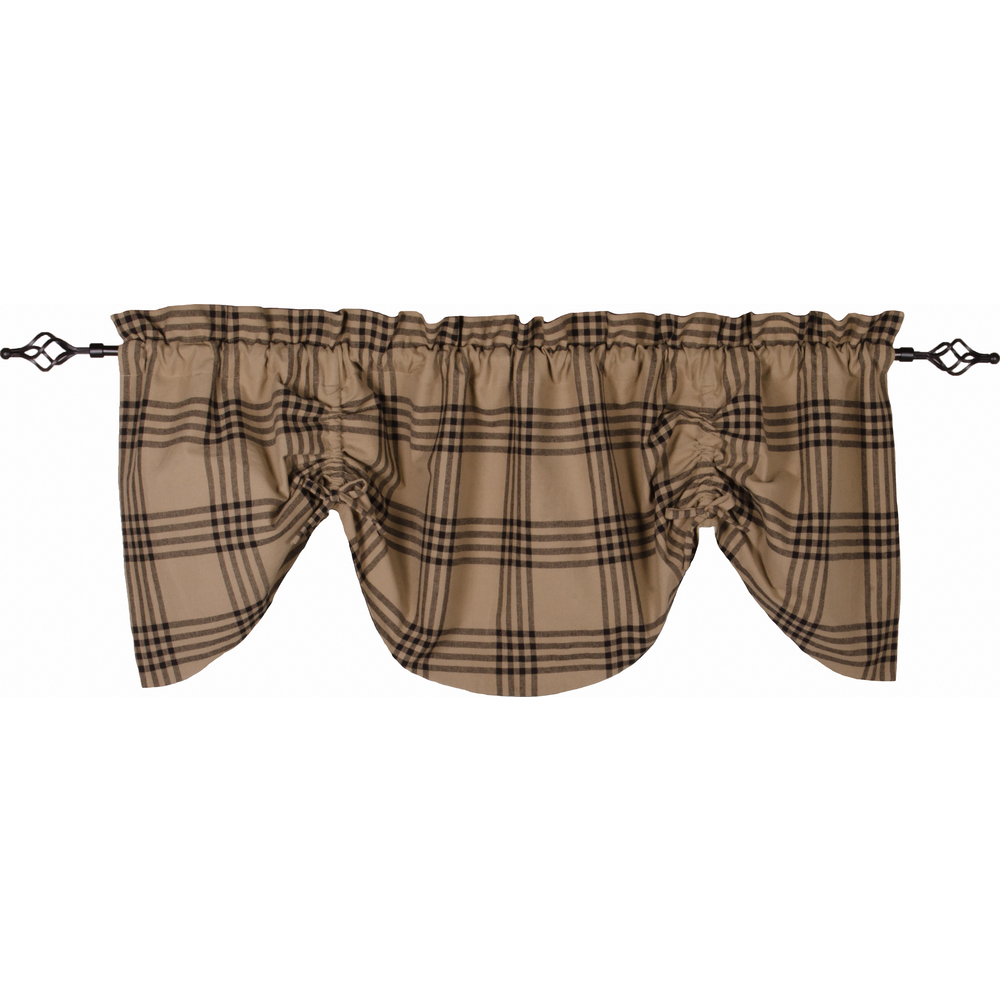 Chesterfield Check Gathered Valance Oat - Black