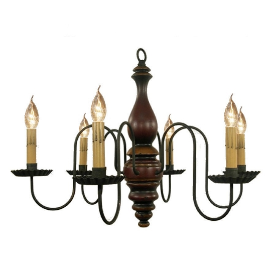 Anderson Wooden Chandelier in Black Rub Over Barn Red with Spicy Mustard Trim