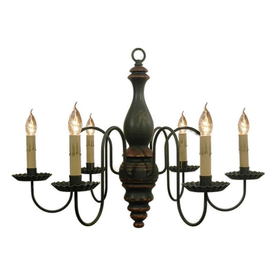 Anderson Wooden Chandelier in Black Crackle Over Spicy Mustard with Barn Red Trim