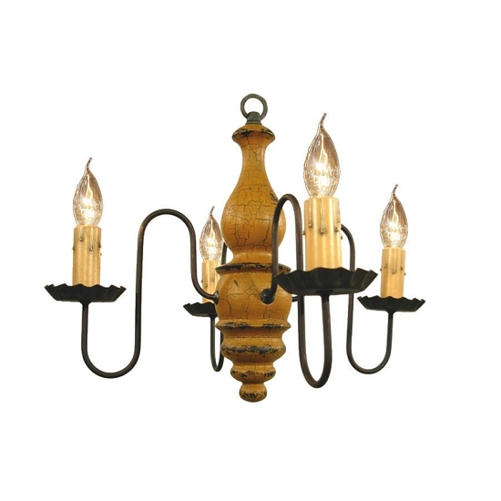Abigail Wooden Chandelier in Mustard Crackle Over Black
