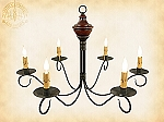 Washington Wrought Iron Chandelier with Wood Accent