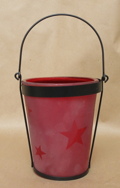 Frosted Star Candle Jar - Red