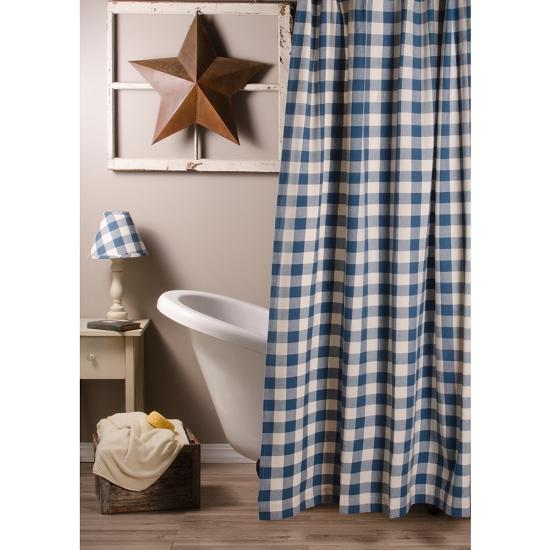 New Primitive Country Farmhouse BLACK STAR Homespun Check Fabric Shower Curtain