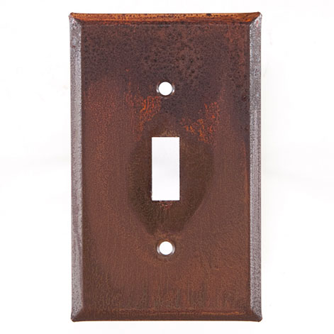Single Switch Cover Unpierced in Rustic Tin