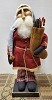 Small Santa with Red Flannel Coat Holding Stocking