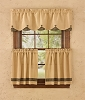 Burlap and Check Lined Scallop Valance - Black