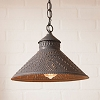 Stockbridge Shade Pendant Light Willow in Blackened Tin