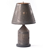 Fireside Lamp Base with Chisel in Blackened Tin