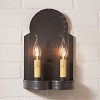 Hanover Double Wall Tin Sconce in Kettle Black