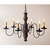 Gettysburg Wooden Chandelier in Hartford Red with Black Stripe