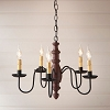 Country Inn Wooden Chandelier in Americana Red