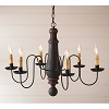 Large Norfolk Wooden Chandelier in Hartford Black with Red Stripe