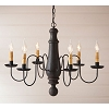 Lg Norfolk Wooden Chandelier in Hartford Black over Red