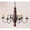 Lg Norfolk Chandelier in Hartford Red w/Blk Stripe
