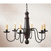 Large Norfolk Wooden Chandelier in Sturbridge Black with Red Stripe