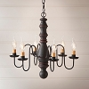 Manassas Wooden Chandelier in Hartford Black with Red Stripe
