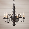 Manassas Wooden Chandelier in Hartford Black over Red