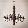 Manassas Wooden Chandelier in Hartford Red with Black Stripe