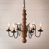 Manassas Wooden Chandelier in Hartford Mustard over Red