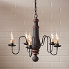 Medium Norfolk Wooden Chandelier in Hartford Black with Red Stripe