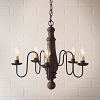 Medium Norfolk Wooden Chandelier in Hartford Red with Black Stripe