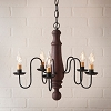 Medium Norfolk Wooden Chandelier in Hartford Red over Black