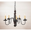 Medium Norfolk Wooden Chandelier in Sturbridge Black with Red Stripe