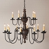 Harrison Two Tier Wooden Chandelier in Espresso w/Salem Brick