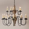 Harrison Two Tier Wooden Chandelier in Pearwood