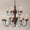Harrison Two Tier Wooden Chandelier in Plantation Red