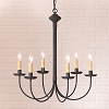6-Arm Rustic Chandelier in Textured Black