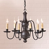 Medium Chesterfield Wooden Chandelier in Americana Black