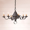 Small Concord Tin Chandelier in Blackened Tin