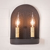 Double Sconce with Willow in Textured Black