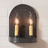 Double Tin Sconce with Willow in Kettle Black