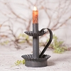Log Cabin Candlestick in Blackened Tin