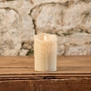 MOVING FLAME 2 IN X 4.75 IN LINEN PILLAR CANDLE WITH TIMER