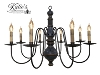 Hamilton Wooden Chandelier Blue Crackle over Black with Mustard Trim