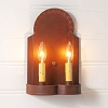 Hanover Double Wall Sconce in Rustic Tin