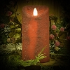3×6 REAL LOOK FLAMELESS TIMER CANDLE-WINTER RED WITH MICA