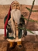 Primitive Arnett Santa In Green Coat Holding Feather Tree